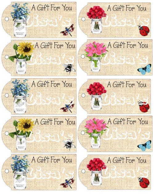Printable Mason Jar Vases Gift Tags Digital Download