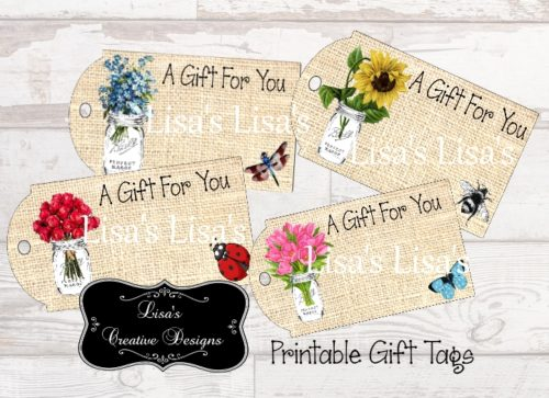 Printable Country Mason Jar Gift Tags
