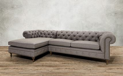 Elegant Upholstered Grey Sectional By Arhaus