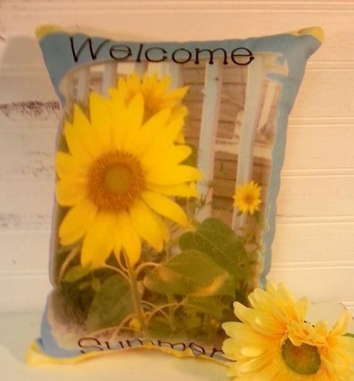 Welcome Summer Country Sunflower Pillow
