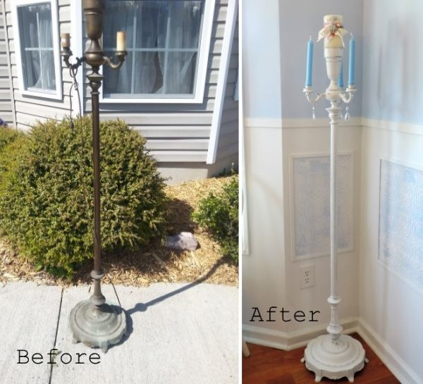 Before and After Upcycled Torchiere Lamp Candelabra