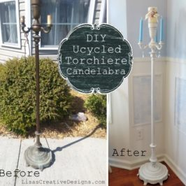 Before and After Upcycled Torchiere Lamp Candelabra Makeover Project