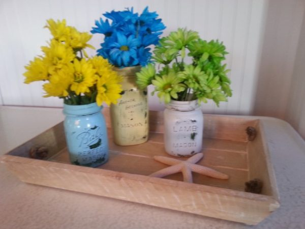 Clever Flower Containers Painted Mason Jars with Daisies