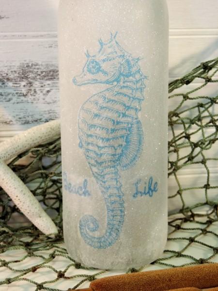 Glittered Seahorse Decorative Beach Bottle