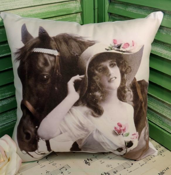 Vintage Victorian Horse Pillow