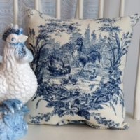 French Country Farmhouse Blue Toile Rooster Pillow