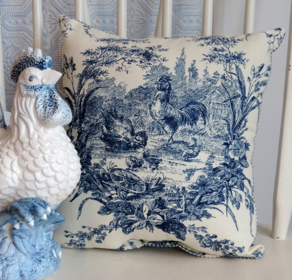 French Country Blue And Antique White Toile Rooster Pillow