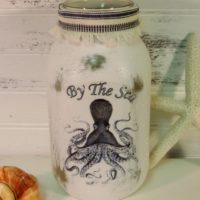 By The Sea Octopus Painted Mason Jar Candle Holder