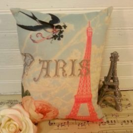 French Pink Eiffel Tower Paris Pillow