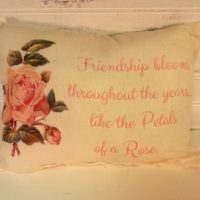 Vintage Rose Inspired Friendship Gift Pillow