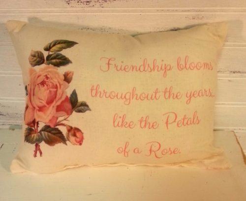 Vintage Rose Inspired Friendship Gift Pillow