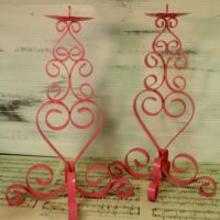 Hot Pink Metal Scroll Candle Holders Beach Decor