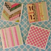 Pastel Cottage Ceramic Tile Coaster Set