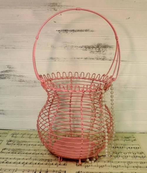 Shabby Chic Pink Metal Basket Wedding Decor