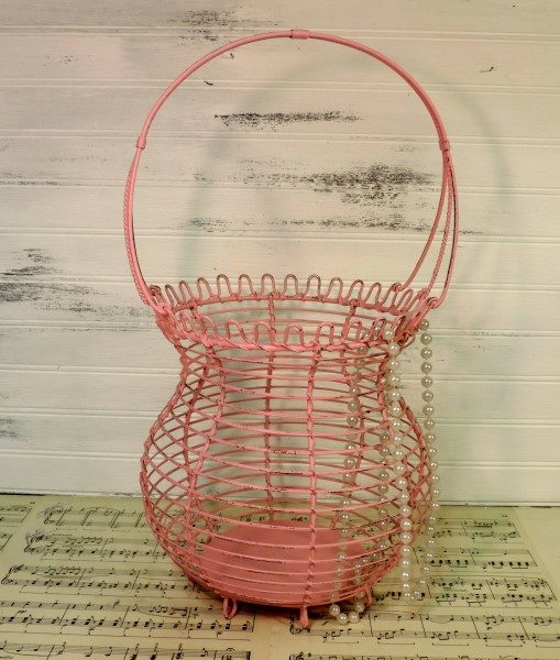 Shabby Chic Pink Metal Basket Wedding Decor