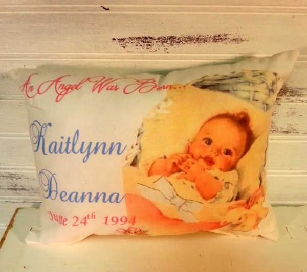 Vintage Inspired Shabby Chic Personalized New Baby Gift Pillow