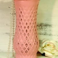 Shabby Pink Painted Glass Flower Vase Harlequin Design