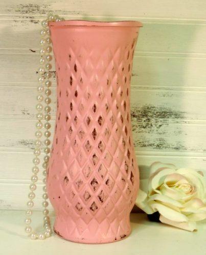 Shabby Pink Painted Glass Flower Vase Harlequin Design