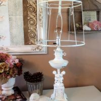 Shabby White Cherub Angel Hollywood Regency Table Lamp