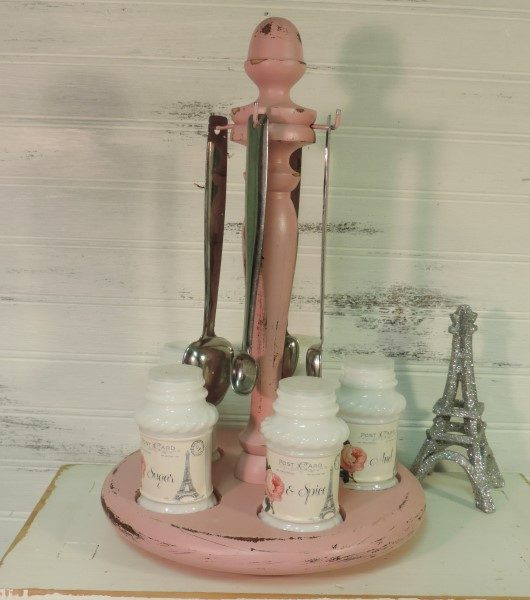 Upcycled Pink Paris Inspired Spice Caddy Shabby Chic Kitchen Decor