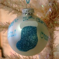 Personalized Blue Stocking Baby's First Christmas Tree Ornament