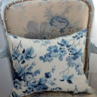 Blue and White French Country Floral Toile Throw Pillow