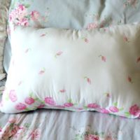 Shabby Pink and White Embroidered Pillow