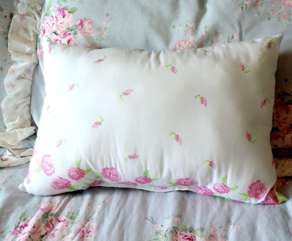 Shabby Chic Pink Embroidered Pillow