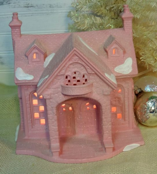 Large Pink Shabby Chic Glittered Christmas House