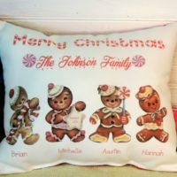 Personalized Gingerbread Man Family Christmas Pillow