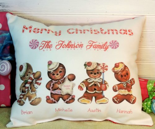 Personalized Handmade Gingerbread Man Family Christmas Pillow