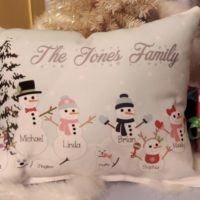 Handmade Personalized Country Snowman Family Pillow Christmas Gift