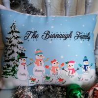 Handmade Personalized Snowman Family Pillow