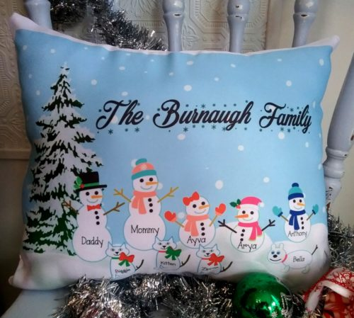 Personalized Snowman Family Pillow
