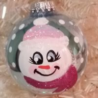 Personalized Hand Painted Snowman Girl Christmas Tree Ornament