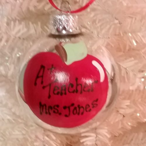 Personalized Teacher Christmas Tree Ornament Apple