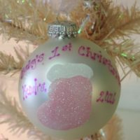 Personalized Pink Stocking Baby's First Christmas Tree Ornament