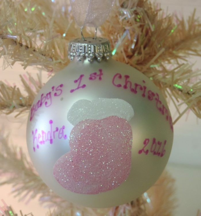 pink stocking babys first christmas tree ornament