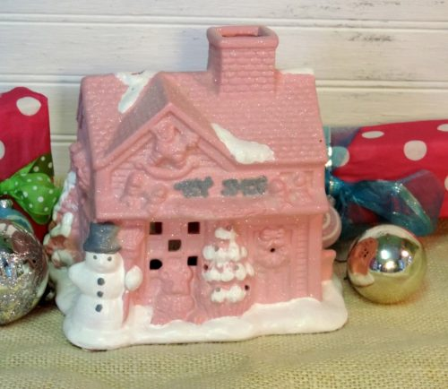 Shabby Pink Christmas Cottage Toy Shop