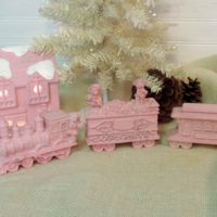 Shabby Chic Pink Christmas Cottage and Train Set