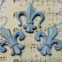 Shabby Blue French Fleur de Lis Ornaments French Decor