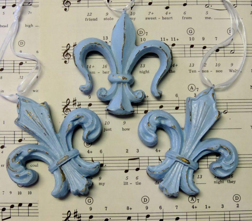 Shabby Blue French Fleur de Lis Ornaments French Decor