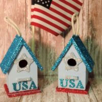 Patriotic USA Glittered Birdhouse Ornaments