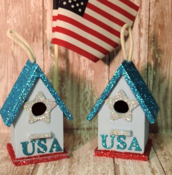 Patriotic USA Glittered Birdhouse Ornaments