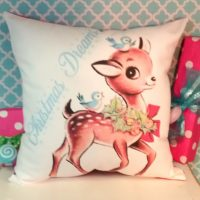Handmade Retro Vintage Reindeer Christmas Pillow