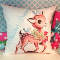 Handmade Retro Vintage Reindeer Christmas Pillow