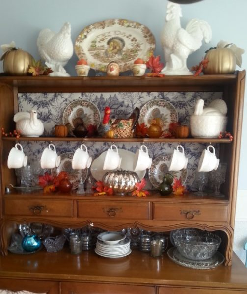 Pretty Thanksgiving China Hutch with Turkey Transferware