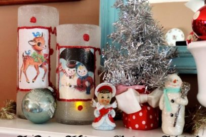 Decorating A Kitschy Retro Vintage Christmas Mantel