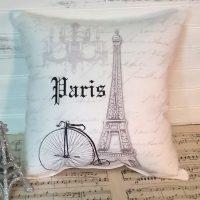Handmade Grey French Script Eiffel Tower Paris Pillow
