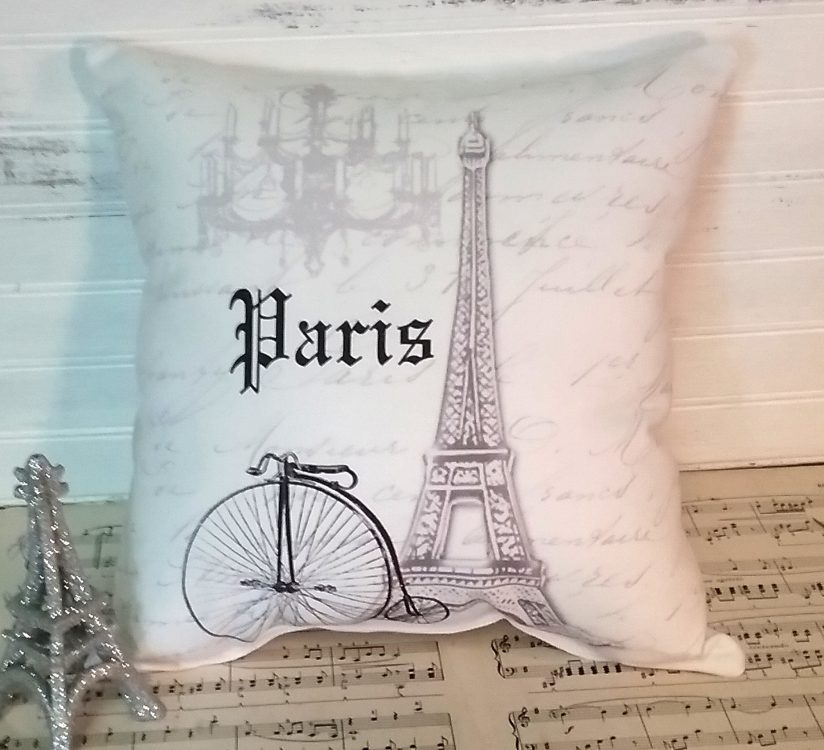 Grey French Script Paris Pillow with Bicycle Eiffel Tower